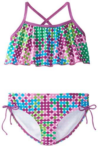 Kanu Surf Big Girls' Nikki Flounce Bikini Swimsuit, Purple, 12