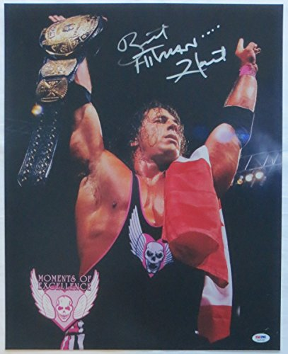 Bret The Hitman Hart Signed WWE 16x20 Photo w/ WWF Winged Eagle Belt PSA/DNA COA (Wwe Eagle Belt compare prices)