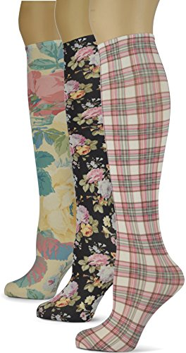 Knee High Trouser Socks w/Colorful Printed Patterns - Made in USA by Sox Trot (3 Feminine)