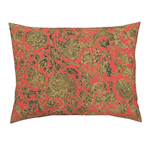Roostery Flowers Floral Gold Gilt Antique Madame Du Barry Coral Euro Knife Edge Pillow Sham Ophelia's Posy ~ Gilt On by Peacoquettedesigns 100% Cotton Sateen by Roostery