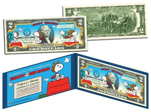 PEANUTSSNOOPY vs. RED BARON Legal Tender US $2 BillLICENSED Charlie Brown by Merrick (Peanut Coin Bank)