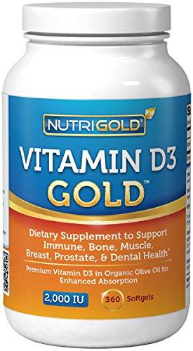 Nutrigold vitamine D3 or (dans l'huile d'olive biologique), 2000 UI, 360 gélules