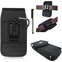 For Samsung Galaxy Centura / Discover Black Tough Nylon Pouch Cell Phone Case Duty Metal Clip Holster+D Ring Hook+Stylus Pen (By All_instore)