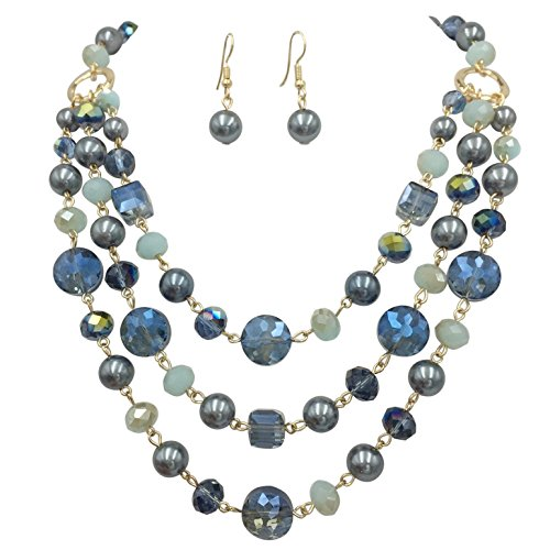 3 Row Layered Imitation Pearl Beaded Necklace And Earrings Set (BLue & Grey Gold Tone) (Rows Turquoise Blue Necklace)