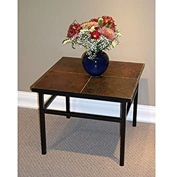 4D Concepts End Table With Slate Top, Metal/ Slate
