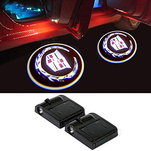 Cadillac Wireless Car Door Led Welcome Laser Projector,No Drill Type Logo Light for All Cadillac,Escalade, CTS,SRX, BLS, ATS,STS, XTS, SXT, etc.