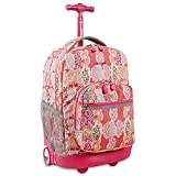 J World New York Sunrise Rolling Backpack, Pink Forest