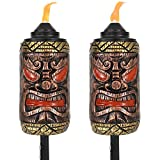 Sunnydaze Tiki Face Torch, Outdoor Patio and Lawn Torches, 24- to 66-Inch Adjustable Height, 3-in-1, Set of 2
