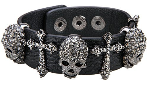YACQ Womens Black Leather Crystal Skull Cross Adjustable Bangle Bracelet Biker Jewelry