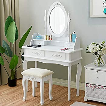 Amazon Com Charmaid Vanity Table Set With Large Square Mirror And Hollow Carved Frame Makeup