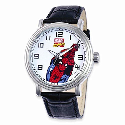 Marvel Black Leather Strap Spiderman Watch