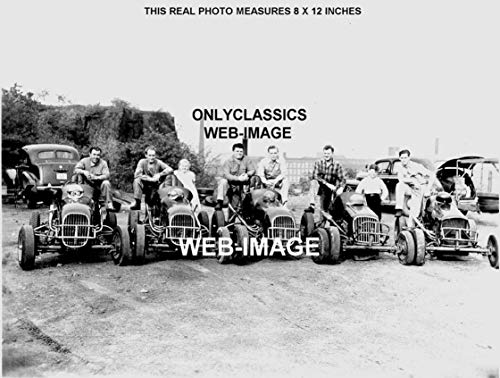 OnlyClassics 1941 Midget CAR Lineup Pappy HOUGH'S Five Little Pigs AUTO Racing 8X12 Photo INDY 500 -