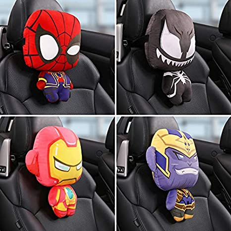RiceStore 1pcs Avengers Hero Cars seat headrests Pillow for The Neck Automobile Iron Man