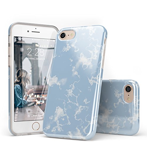 iPhone 8 Case Clouds, iPhone 7 Case Blue, CASELY Light Blue Sky Clouds Pattern Design Clear Bumper TPU Gel Slim Soft Flexible Rubber Silicone Cover iPhone Case for Women Teens