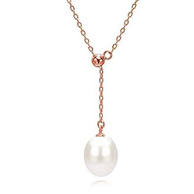 gamme exclusive vente chaude authentique large choix de couleurs Collier pendentif blanc pour femmes en or rose/argent avec perle de culture  blanche