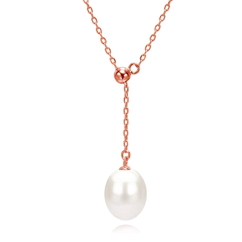 Perle Y Halskette Kette Anhänger Rosegold Damen Schmuck mit Geschenkbox, 45CM Kettenlänge