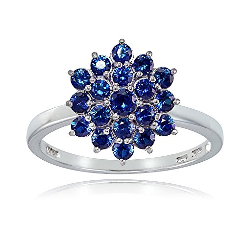 (Ice Gems Sterling Silver Created Blue Sapphire Flower Ring, Size 7)