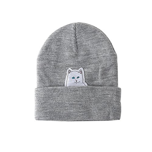 Review Funbase Unisex Men Women Knitted Hip Hop Beanie Hat Cat Crochet Skull Cap