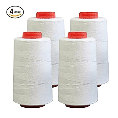 4 PACK of 6000 Yard (each) Spools White Sewing Thread All Purpose 100% Spun Polyester Overlock Cone (Upholstery , Canvas , Drapery, Beading, Quilting) from Foamily