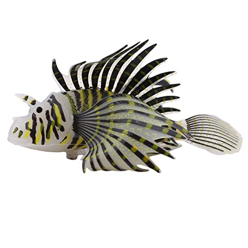 (Rurah Artificial Lion Fish Luminous Fake Fish Aquarium Fish Tank Ornament Glow Simulation Animal Decoration Fish Floating Decorations Ornament,Black lionfish)