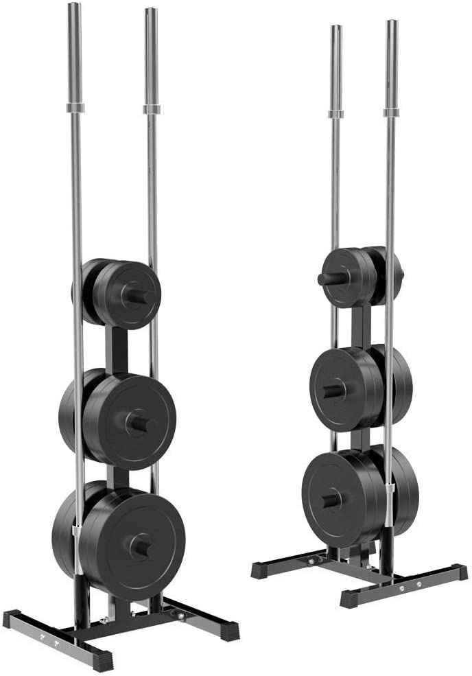 YAHEETECH Olympic Weight Rack/Tree with Bar Holder for 2 Inch Barbell/Bumper Plates Heavy Duty Stand Black : Sports & Outdoors