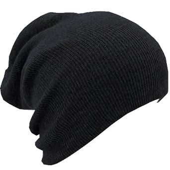 Slouchy Beanie Slouch Skull Hat Ski Hat Snowboard Hat Ribbed Beanie,One Size,Black