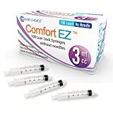 3ml Syringe Only with Luer Lock Tip - 100 Syringes by Comfort EZ (No Needle)