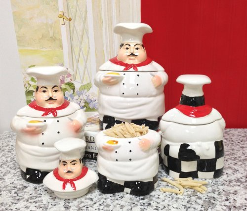 Fat Chef Kitchen: Fat Chef Kitchen Canister Set Of 4 New