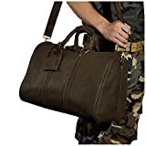Le'aokuu Mens Genuine Leather Carry on Travel Luggage Tote Duffle Gym Bags (The 3037 dark brown)
