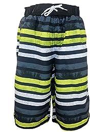 SLGADEN Boys Swim Trunk Stripe Quick Dry Mesh Lined Summer Beach Shorts 7-14Y