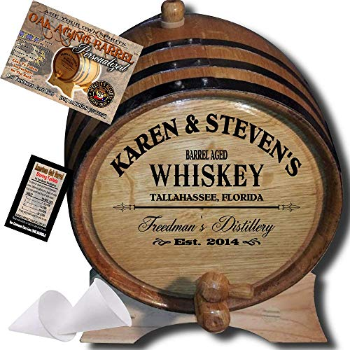 Personalized American Oak Whiskey Aging Barrel (063) - Custom Engraved Barrel From Skeeter's Reserve Outlaw Gear - MADE BY American Oak Barrel - (Natural Oak, Black Hoops, 3 Liter)