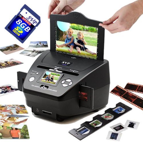 SVP PS9700 Black(with 8GB)3-in-1 Digital Photo/Negative Films/Slides Scanner with built-in 2.4 LCD Screen