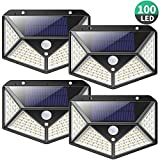 Solar Lights Outdoor 100 LED, [2200mAh Super Energy Saving] iPosible Motion Sensor Security Lights 270º Wall Lights Solar Powered Lights Wireless Waterproof with 3 Modes for Garden Outside (4 Pack)