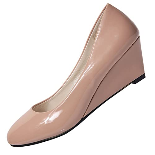 1a3efea0897 SODIAL(R) New Women Wedges Shoes Pointed Toe Patent Leather Nude Work Shoes  Casual Women Pumps Cream-Colored US9 EUR40 Length 25CM  Buy Online at Low  Prices ...