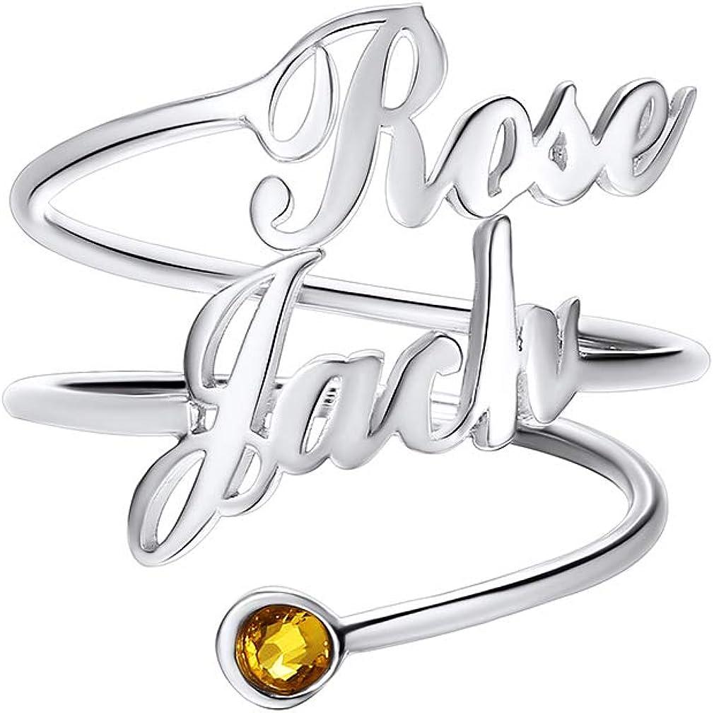 Custom4U Personalizado Anillo Plata de Ley 925 Chapado en Platino/Oro/Oro Rosa Decoración de Dedos Joyería DIY de Mujeres con Piedra de Nacimiento y Nombres Personalizables