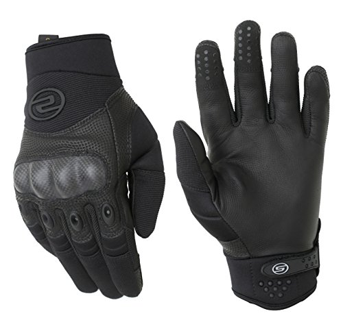 Seibertron Men's Hard Knuckle Military Leather Palm Carbon Fiber Glove Outdoor Sports Tactical Airsoft Hunting Cycling Bike Motorcycle MTB Gloves Black L by Seibertron (Image #2)