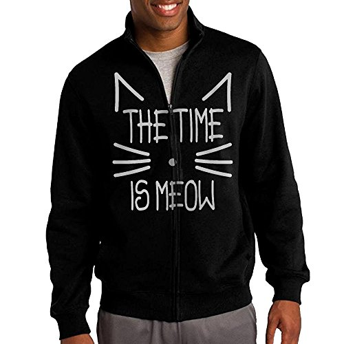 Jim Carrey Costume Ideas (Men's Time Is Meow Solid Stand Collar Zipper Jacket Size S)