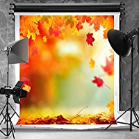 Kate 5x7ft Autumn Photo Backdrops No Wrinkle Microfiber Red Yellow Leaves Photography Background