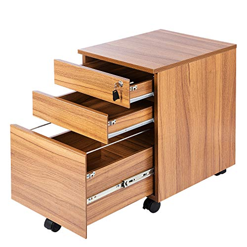 TOPSKY 3 Drawers Wood Mobile File Cabinet Fully Assembled Except Casters (Oak Brown Letter Size) by TOPSKY (Image #3)