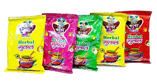 Pure Herbal Holi Colors Gulal in 5 Different Colors 500g. (5 X 100 GMS) Yellow, Pink, Green, Mustard, RED- Non Toxic, Skin Safe Holi Gulal
