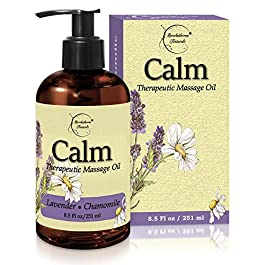 Calm Massage Oil with Lavender & Chamomile Essential Oils to Relax Sore Muscles – For Massage Therapy & Home use – with Coconut, Grapeseed & Jojoba Oils for Smooth Skin– Brookethorne Naturals – 8.5oz