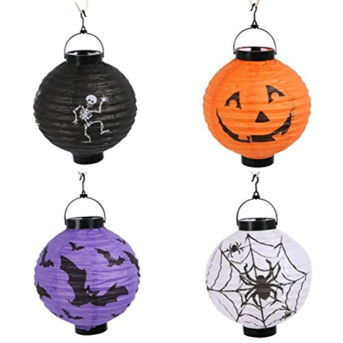 Halloween Pumpkin Lantern,Decorations Paper Lanterns with LED Light, Pack of 4 for $<!--$7.99-->