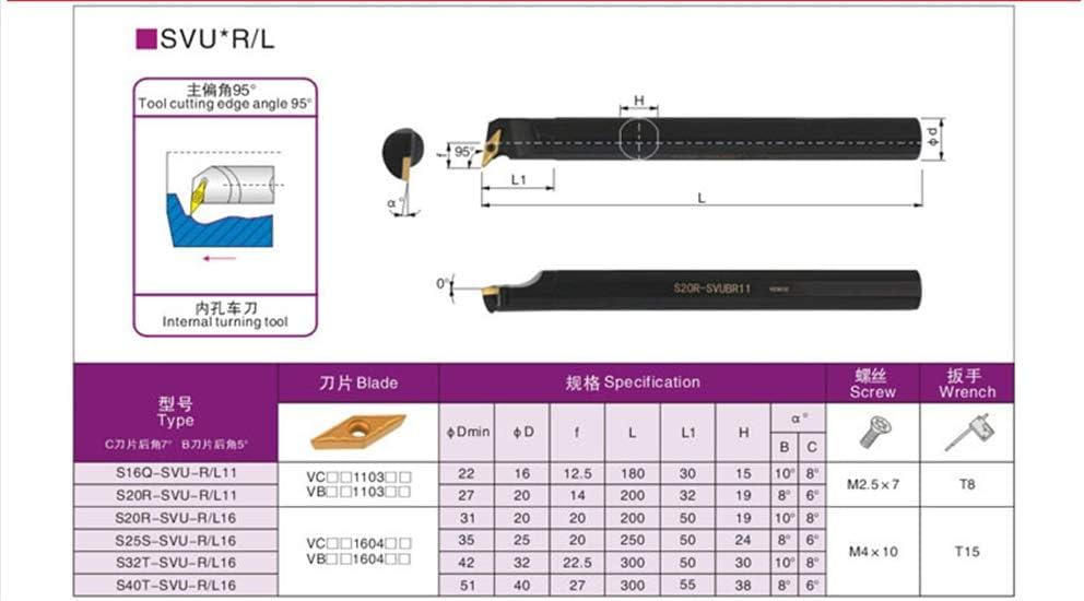 ZIYI 95/°S16Q-SVUCR11 ndex Internal Lathe Turning Holder For VBMT Inserts