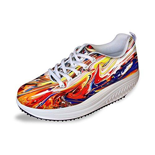 Knuffels Idee Mode Kleurrijke Mesh Platform Fitness Sneakers Voor Vrouwen Kleurrijke 6