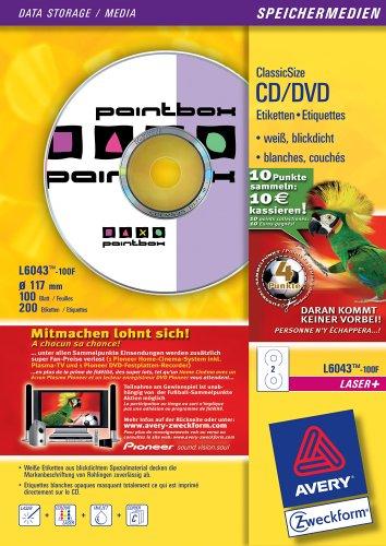 Avery Zweckform CD-Etiketten ClassicSize Format /ø 117 mm;100 Blatt wei/ß