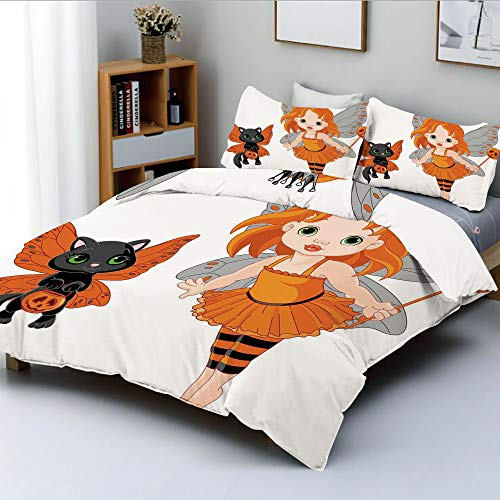 Duplex Print Duvet Cover Set Twin Size,Halloween Baby Fairy and Her Cat in Costumes Butterflies Girls Kids Room Decor DecorativeDecorative 3 Piece Bedding Set with 2 Pillow Sham,Multicolor,Best Gift -