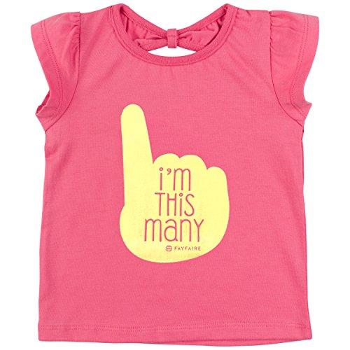 First Birthday Shirt for Girls Outfit Fayfaire Boutique Bday Toddler Tee I'm This Many Pink 12M