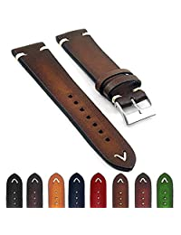 StrapsCo st11 Faded Vintage Leather Mens Watch Band w/ Minimal Stitching in Brown 24mm