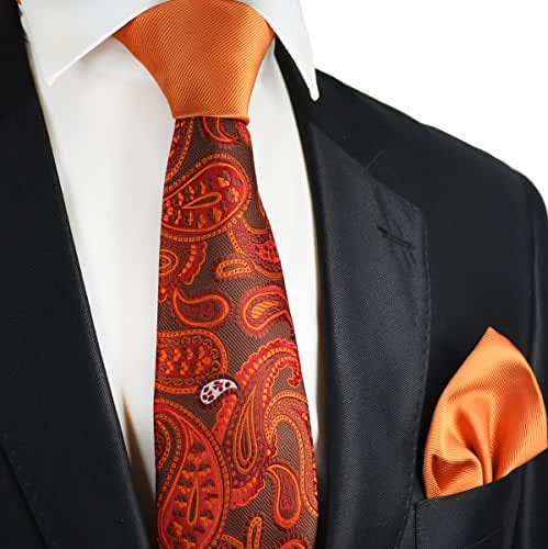 Amberglow Contrast Knot Tie and Pocket Square by Paul Malone