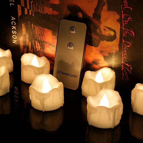 Halooween Decorations (Micandle 12PCS Wax Dripped Flickering Flameless Fake Warm White LED Tealight Candles,Battery Oparetion,With 2 keys Remote for On/Off;Lasting 48+Hrs,For Wedding,Halooween,Home Decor-1.3''D x 1.45''H)